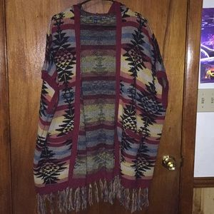 American Eagle Aztec Sweater Poncho with hood